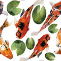 Watercolor oriental rainbow carp with water lily seamless pattern