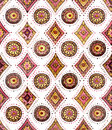 Watercolor Oriental Repeat Pattern with Geometric Elements