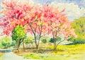 Watercolor original landscape painting pink color of wild himala
