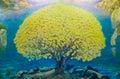 Watercolor paint of Nature landscape
