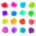 Watercolor Paint Stains Vector Backgrounds Set Rainbow Colors