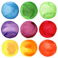 Watercolor painted circles collection hand Royalty Free Stock Photography