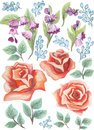 Watercolor painted collection. Watercolor flowers and Leaves composition. Elements for invitation