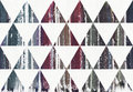 Watercolor painted striped purple, blue and cyan splatter colors in triangles, raster illustration. Royalty Free Stock Photo