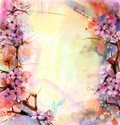 Watercolor Painting Cherry blossoms, Japanese cherry, Pink Sakura Royalty Free Stock Photo