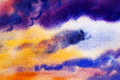 Watercolor painting cloud, sky colorful of rain-cloud in air.