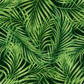 Watercolor painting coconut,palm leaf,green leave seamless pattern background.Watercolor hand drawn illustration tropical exotic l