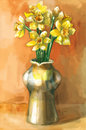 Watercolor painting of daffodil flowers in a vase