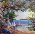 Watercolor painting landscape of sunset in the cote d azur france Stock Image