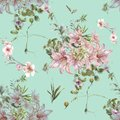 Watercolor painting of leaf and flowers, seamless pattern on blue