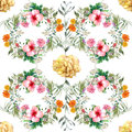 Watercolor painting leaf and flowers, seamless pattern on white background