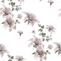Watercolor painting leaf and flowers, seamless pattern on white background illustration
