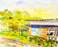 Watercolor painting original landscape  colorful  of the riverside Royalty Free Stock Photo