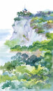 Watercolor Painting with Orthodox Church on green summer mountain vector illustration