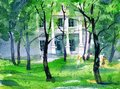 Watercolor painting with playing children and mansion house in the background. Picture of green park in the spring.
