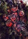 Watercolor painting roses Dark color