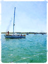 Watercolor painting of a sailing boat going out to sea with some digital someone putting foresail up portrait image space for Royalty Free Stock Image