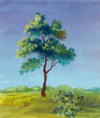 Watercolor painting of a tree Stock Photos