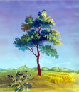 Watercolor painting of a tree Stock Images