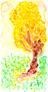 Watercolor painting of a tree Stock Image