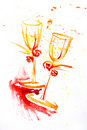 Watercolor painting of two wineglasses Royalty Free Stock Photo