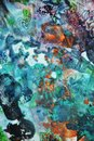Blue dark pink green orange paint, soft mix colors, painting spots background, watercolor colorful abstract background Royalty Free Stock Photo