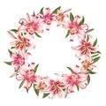 Beautiful white and pink lily wreath. Bouquet of flowers. Floral print. Marker drawing.