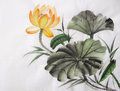 Watercolor painting of yellow lotus flower original art asian style Royalty Free Stock Image