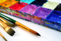 Watercolor paints paintbrushes set Stock Image