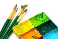 Watercolor paints paintbrushes set Stock Images