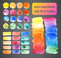 Watercolor palette color brush strokes set of different colors Stock Photos