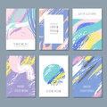 Watercolor pastel abstract backgrounds. Vector invitation cards with hand brush texture
