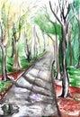 Watercolor path in the autumn park landscape