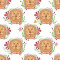 Watercolor pattern animal face cute lion .