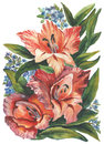 Watercolor pattern with bouquets on a white background.