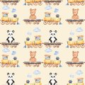Watercolor pattern with cartoon bears on the train.