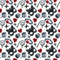 Watercolor pattern with depiction of subjects for sexual games, leather mask, handcuffs, whip