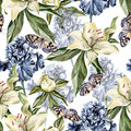 Watercolor pattern with flowers iris, peonies and lilies, buds and petals.
