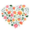 Watercolor pattern of flowers and leaves. Bright summer print in heart shape with floral elements Royalty Free Stock Photo