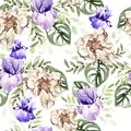 Watercolor pattern with flowers of peony and iris, tropical leaves. Royalty Free Stock Photo
