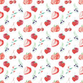 Watercolor pattern fruits and berries seamless design on white background
