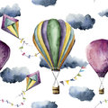 Watercolor pattern with hot air balloon and kite. Hand drawn vintage kite, air balloons with flags garlands, clouds and Royalty Free Stock Photo
