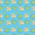 Watercolor pattern illustration, tropical flowers, pink and yellow plumeria, leaves Royalty Free Stock Photo
