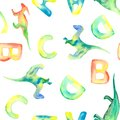 Watercolor pattern with letters and leaves