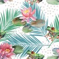 Watercolor pattern of lotus flower and frog