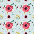 Watercolor seampless pattern poppies
