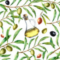 Watercolor pattern with olives. Hand painted seamless ornament with olive berry, olive oil and tree branches with leave