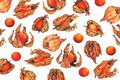 Watercolor pattern of physalis fruit berry
