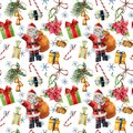 Watercolor pattern with Santa Claus and Christmas traditional decor. Hand painted giftbox with bow, candy, bells