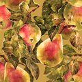 Watercolor pear with apple. Floral seamless pattern. Bronze background.